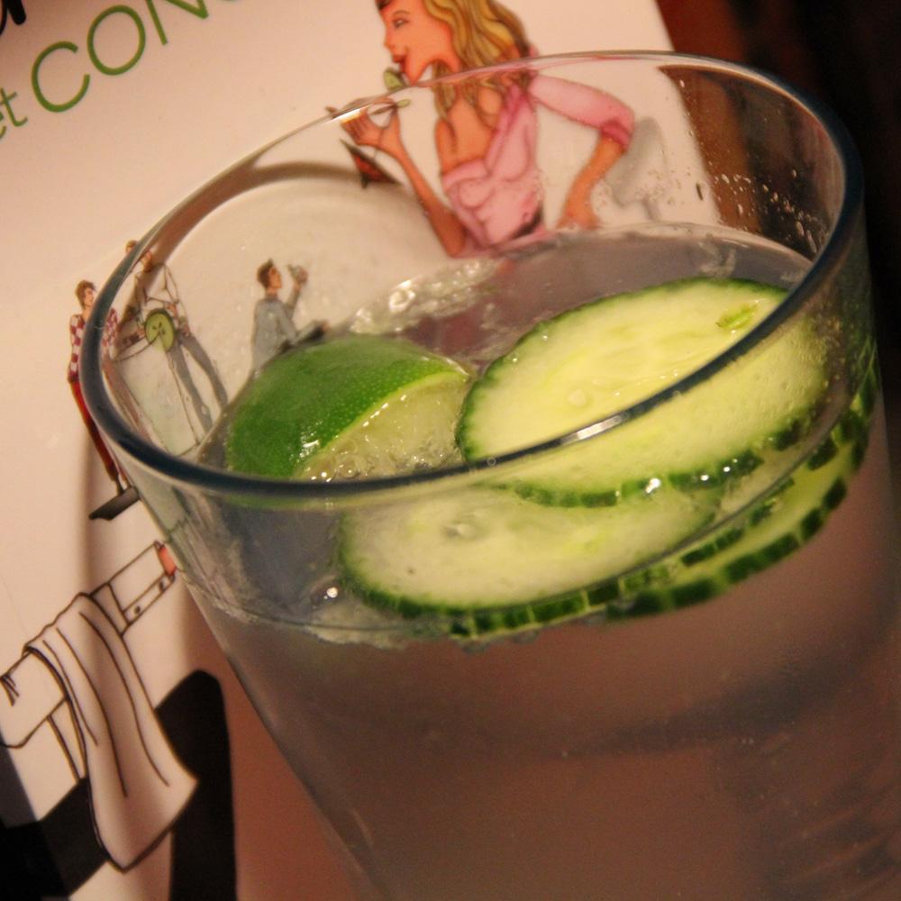 Gin tonic et concombre, boisson et roman